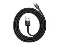 Cablu Date si Incarcare USB la Lightning Baseus QC3.0, 2.4A, 1 m, Gri - Negru, Blister CALKLF-BG1