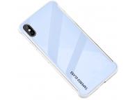 Husa TPU OEM Antisoc cu spate din sticla pentru Apple iPhone X / Apple iPhone XS, Albastra, Bulk