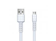 Cablu Date si Incarcare USB la MicroUSB Remax Armor RC-116m, 2.4A, 1 m, Alb, Blister