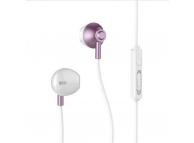 Handsfree Casti EarBuds Remax RM-711, Cu microfon, 3.5 mm, Alb Roz, Blister