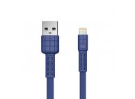 Cablu Incarcare USB la Lightning Remax Armor RC-116i, 2.4A, 1 m, Albastru, Blister