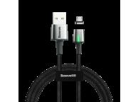 Cablu Incarcare USB la MicroUSB Baseus Zinc Magnetic, 2.4A, 1 m, Led, Negru, Blister CAMXC-A01