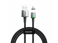 Cablu Date si Incarcare USB la USB Type-C Baseus Zinc Magnetic, Led, 2A, 2 m, Negru, Blister CATXC-B01