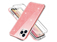 Husa TPU OEM Shockproof Glitter Full Cover pentru Apple iPhone 11 Pro, Roz, Bulk