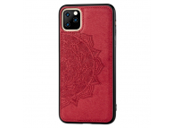 Husa Plastic - TPU OEM Embossed Mandala pentru Apple iPhone 11 Pro, Cu snur, Rosie, Bulk