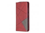 Husa Piele OEM Rhombus Texture cu suport carduri si foto pentru Nokia 2.2, Rosie, Bulk