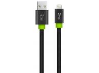 Cablu Date si Incarcare USB la Lightning Goui Fashion Flat, 1 m, Negru, Blister G-LC8PINFBF-K