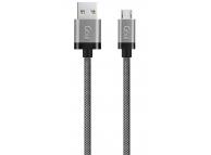 Cablu Date si Incarcare USB la MicroUSB Goui Metallic, 1.5 m, Gri, Blister G-MICROMETAL-S