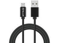 Cablu Date si Incarcare USB la MicroUSB Tellur Braid, 2 m, Negru, Blister TLL155322