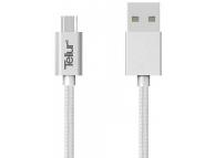 Cablu Date si Incarcare USB la MicroUSB Tellur Braid, 1 m, Argintiu, Blister TLL155131