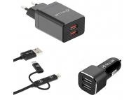 Incarcator retea + auto cu cablu USB 3 in 1 Tellur TCK2, 2 x USB, 2.4A, Negru, Blister