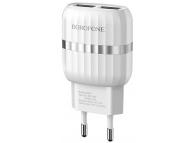 Incarcator Retea cu cablu MicroUSB Borofone BA24A, Smart ID, 2.4A, 2 X USB, Alb, Blister