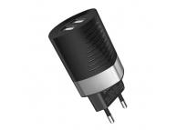 Incarcator Retea USB Borofone BA26A Zowie, Smart ID, 2.4A , 2 X USB, Negru, Blister