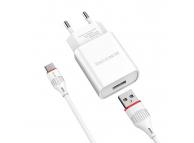 Incarcator Retea cu cablu USB Tip-C Borofone BA20A, Smart ID, 2.1A, 1 x USB, Alb, Blister