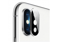 Folie Protectie Camera spate OEM pentru Apple iPhone XS, Sticla securizata, Full Cover, Titanium cu Rama metalica, Argintie, Blister