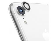 Folie Protectie Camera spate OEM pentru Apple iPhone XR, Sticla securizata, Full Cover, Titanium cu Rama metalica, Argintie, Blister