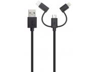 Cablu Date si Incarcare USB la Lightning - USB la MicroUSB - USB la USB Type-C Xqisit, 3in1, 1 m, Negru, Blister