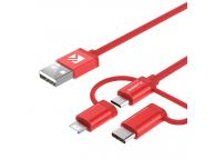 Cablu Date si Incarcare USB la Lightning - USB la MicroUSB - USB la USB Type-C Floveme, 1 m, Rosu, Bulk