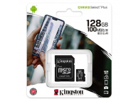 Card Memorie MicroSDXC Kingston Canvas Select Plus Android A1, 128Gb, Clasa 10 - UHS-1 U1, Blister SDCS2/128GB