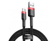 Cablu Date si Incarcare USB la USB Type-C Baseus Cafule, 3A, 1 m, Negru - Rosu, Blister CATKLF-B91