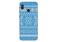 Husa TPU OEM Snowflakes Christmas pentru Samsung Galaxy A40 A405, Albastra, Bulk