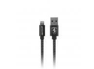 Cablu Date si Incarcare USB la Lightning Ferrari MFI Nylon, 1.5 m, Gri, Blister FETCNYDG
