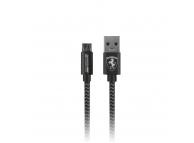Cablu Date si Incarcare USB la MicroUSB Ferrari MFI Nylon, 1.5 m, Gri, Blister FETCNYUDG