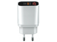 Incarcator Retea USB Forever PD+QC3.0 + Led display,  1x USB + 1x Tip-C, Alb, Blister