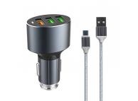 Incarcator Auto cu cablu USB Tip-C Ldnio C703Q, 3,6A, QC 3.0, 3 x USB, Negru, Blister
