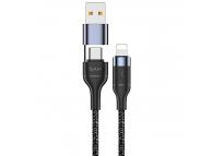 Cablu Date si Incarcare USB Type-C la Lightning, USB  la Lightning, Usams U31, 30W PD Fast Charge, US-SJ404, 1.2 m, Negru, Blister