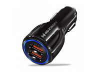 Incarcator Auto USB WZK WCC-02, Quick Charge 3.0, 2 X USB, Negru, Blister