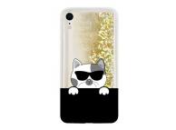 Husa TPU OEM LIQUID CAT pentru Apple iPhone XR, Aurie - Neagra, Bulk