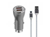 Incarcator Auto cu cablu MicroUSB Ldnio C407Q, Quick Charge 3.0, 2 X USB, Argintiu, Blister