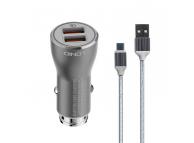 Incarcator Auto cu cablu USB Tip-C Ldnio C407Q, 3A, Quick Charge 3.0, 2 X USB, Argintiu, Blister