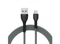 Cablu Date si Incarcare USB la MicroUSB Golf GC-74m, 1 m, Gri, Blister