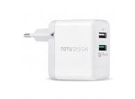 Incarcator Retea USB Totu Design QC3.0, 2 X USB, Alb, Blister