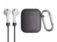 Husa silicon cu snur casti pentru Apple Airpods 1 / 2 Uniq Vencer, Neagra, Blister