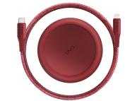 Cablu Date si Incarcare USB la USB Type-C UNIQ Halo, cu Organizator, 1.2 m, Rosu, Blister