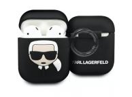 Husa TPU Karl Lagerfeld pentru Apple Airpods, Neagra, Blister KLACCSILKHBK
