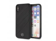 Husa Piele MERCEDES pentru Apple iPhone X / Apple iPhone XS, Hard Cover New Organic, Neagra, Blister MEHCPXTHLBK