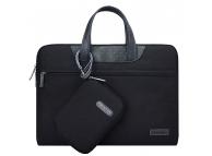 Set Geanta textil laptop 13 inci + Borseta de mana Cartinoe Lamando, Neagra, Bulk