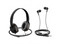 Handsfree Casti In-Ear - On-Ear HOCO W24, Cu microfon, 3.5 mm, Auriu, Blister