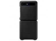 Husa Piele Samsung Galaxy Z Flip F700, Leather Cover, Neagra, Blister EF-VF700LBEGEU