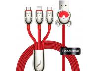 Cablu Date si Incarcare USB la Lightning - USB la MicroUSB - USB la USB Type-C Baseus Three Mouse 3in1, 3,5A, 1.2 m, Rosu, Blister CAMLT-MU09