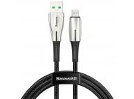 Cablu Date si Incarcare USB la MicroUSB Baseus Waterdrop, 4A, 2 m, Negru, Blister CAMRD-C01