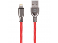 Cablu Date si Incarcare USB la Lightning Forever Core Tornado, 3A, 1 m, Rosu, Blister
