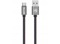 Cablu Date si Incarcare USB la USB Type-C Tellur Denim, 1 m, Albastru, Blister TLL155381