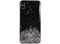 Husa TPU WZK Star Glitter Shining pentru Samsung Galaxy A40 A405, Neagra, Blister