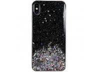 Husa TPU WZK Star Glitter Shining pentru Samsung Galaxy A50 A505, Neagra, Blister