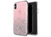 Husa TPU WZK Star Glitter Shining pentru Apple iPhone X / Apple iPhone XS, Roz, Blister